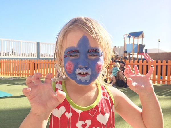 ansiktsmålning, semester, barn, sol